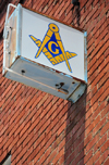 Williams, Coconino County, Arizona, USA: Masonic temple sign on a brick wall - photo by M.Torres