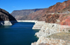 Hoover Dam, Mohave County, Arizona, USA: view upstream from Hoover Dam - the white edges illustrate the decreased water level in the reservoir - Black Canyon, Lake Mead National Recreation Area - photo by M.Torres