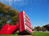 Cleveland, Ohio, USA: giant rubber stamp with the word free - sculpture by Claes Oldenburg at Willard Park - photo by M.Torres