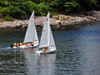 York, Maine, New England, USA: two boats sail along the shore - Stage Neck - mouth of the river York - photo by M.Torres