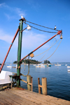 Five Islands, Georgetown Island, Maine, New England, USA: lobster wharf in a quintessential Maine fishing village - crane - photo by M.Torres