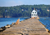 Rockland, Maine, New England, USA: Colonial Revival building of the Rockland Breakwater Lighthouse at the end of the 7/8-mile-long, twenty-foot-wide stone breakwater - photo by M.Torres