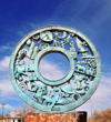 Socorro, New Mexico, USA: sculpture 'the Wheel of History' - pictorial history of over four hundred years - Elfego Baca Heritage Park - photo by M.Torres