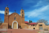 Socorro, New Mexico, USA: San Miguel Mission, symbol of the Spanish Catholic heritage, celebrated by the annual Fiestas - the last governor of New Mexico before the American-occupation, Manuel Armijo, is buried at the church - photo by M.Torres