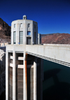Hoover Dam, Clark County, Nevada, USA: water intake towers in the Black Canyon of the Colorado River - clock with Nevada time - Boulder City - photo by M.Torres