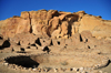 Chaco Canyon National Historical Park, New Mexico, USA: Pueblo Bonito under the cliffs - kiva and Great House - UNESCO World Heritage Site - photo by M.Torres