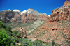 Zion National Park, Utah, USA: canyon view with the Beehives and the Sentinel - Mt Carmel Junction - photo by M.Torres
