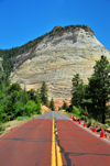 Zion National Park, Utah, USA: Checkerboard Mesa - fossilized sand dunes - Zion-Mt. Carmel Highway - photo by M.Torres