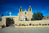 Ranchos de Taos, New Mexico, USA: adobe construction - St.Francis de Assisi Church from outside the walls - photo by J. Fekete