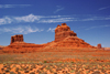 Valley of the Gods,  Blanding, San Juan County, Utah, USA: eroded red sandstone formations - buttes and contrails - photo by A.Ferrari