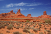 Valley of the Gods, San Juan County, Utah, USA: red sandstone valley - majestic and eerie formations - left to right Putterman on the Throne, Putterman in a Bathtub, Tom Tom Towers, Eagle Plume Tower - photo by A.Ferrari
