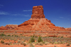 Valley of the Gods, San Juan County, Utah, USA: Eagle Plume Tower, 400 feet tall, the biggest tower in the Valley - colorful formation - photo by A.Ferrari