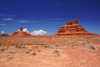 Valley of the Gods, San Juan County, Utah, USA: Rooster Butte (left) and Setting Hen Butte (right) - photo by A.Ferrari