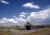 countryside, Utah, USA: old ranch buildings and fence - photo by C.Lovell