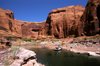 Lake Powell, Utah, USA: a house at anchor in Llewellyn Gulch - Escalante River, Glen Canyon National Recreation Area - photo by C.Lovell
