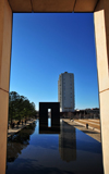 Oklahoma City, OK, USA: Oklahoma City National Memorial - reflecting pool and both gates - honours the victims of the 1995 Oklahoma City bombing that destroyed the Alfred P. Murrah Federal Building - Timothy McVeigh was executed for the crime - Regency Tower in the background - photo by M.Torres