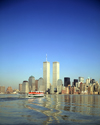 USA - Manhattan (New York): ferry and the WTC twin towers - photo by A.Bartel