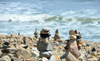 Point Judith, Narragansett, RI, USA: numerous cairns by the sea - photo by M.Torres