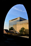 Wilmington, Delaware: State of Delaware Board of Parole building framed by an arch, 820 N French St - photo by M.Torres