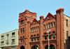 Louisville, Kentucky, USA: Old Fire Station red brick facade on Jefferson Street - former Fire Department Headquarters - Richardsonian Romanesque style, designed by the McDonald Brothers - photo by M.Torres