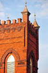 Charlotte, North Carolina, USA: Grace A.M.E. Zion Church tower detail - 1902 red brick late Gothic Revival style building, one of the oldest black churches in Charlotte - S. Brevard Street - photo by M.Torres