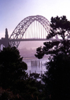 Newport, Oregon, USA: Yaquina Bay Bridge - designed by Conde McCullough - photo by F.Rigaud