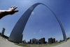 St. Louis, Missouri, USA: Gateway Arch - Jefferson National Expansion Memorial - designed by the architect Eero Saarinen and the structural engineer Hannskarl Bandel - photo by C.Lovell