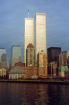 Manhattan (New York) - the World Trade Center (WTC) before September 11 - foreground: Jewish Heritage Museum (photo by Miguel Torres)