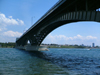 Buffalo, New York State, USA: Peace Bridge over the Niagara River - view from Fort Erie, Canada - arched spans - photo by R.Grove