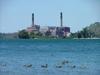 Niagara river, New York state, USA: power plant and geese - seen from the Canadian bank - photo by R.Grove