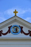 Scarborough Hills, Narragansett, RI, USA: Catholic church of St Mary Star of the Sea - gable detail - tympanum - coat of arms of Bishop Francis P. Keough, bishop of Providence when the church was built - Point Judith Road - photo by M.Torres
