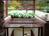 Bear Run, Pennsylvania, USA: Fallingwater house - inside - view of the stream from the living area - architect Frank Lloyd Wright - photo by G.Frysinger