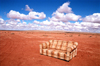 USA - Navajo Nation (Arizona): couch in the desert / checkered sofa / divan - Photo by G.Friedman