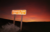 Death Valley (California): Emigrant pass at dawn - sign - photo by G.Friedman