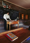 Kettle Moraine State Forest, Wisconsin, USA: Old World Wisconsin - schoolhouse interior - teacher, textbook, blackboard - photo by C.Lovell