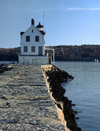 Rockland, Maine, USA: Rockland Breakwater Lighthouse and breakwater built in 1902 to protect its harbor - Jameson Point - USCG nr 1-4130 - photo by C.Lovell