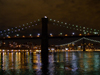 New York City: Brooklyn Bridge and Manhattan Bridge by night - photo by M.Bergsma