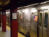 New York City: the subway - train at Bryant Park station - metro - underground - photo by M.Bergsma