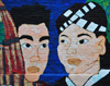 Kansas City, KS, USA: faces in a Hmong mural - 'Facing the Past, Looking to the Future: A Kansas Hmong Storycloth Mural' - 751 Minnesota Ave. - photo by M.Torres