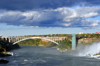 Niagara Falls, New York, USA: Prospect Point Park tower and Rainbow Bridge over the Niagara River - steel arch bridge - architect Richard Lee - photo by M.Torres