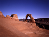 USA - Arches National Park (Utah): Delicate Arch and landscape - freestanding natural arch - shown in Utah license plates - attraction - landmark - near Moab - photo by J.Fekete