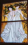 USA - Fort Smith (Arkansas): old brothel - Miss Laura's Social Club - stain glass window on the stairway to paradise - photo by G.Frysinger