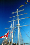 California: masts of a tall ship - Canadian flag - photo by J.Fekete