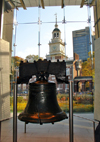Philadelphia, Pennsylvania, USA: Liberty Bell with its crack, across from Independence Hall - in 1752 the first Liberty Bell was cast in England to mark the fiftieth anniversary of Penn's Charter of Privileges - Liberty Bell Center - photo by G.Frysinger