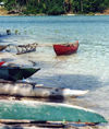 Efaté island: native boats on the lagoon (photo by G.Frysinger)