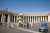 Vatican City, Rome - Saint Peter's square - police 'car' and colonnade with an entabulature of the simple Tuscan Order, designed by Bernini - photo by I.Middleton