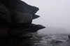 53 Venezuela - Bolivar - Canaima NP - Over-hanging flat rocks in the fog, at the top of Roraima - photo by A. Ferrari