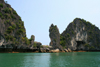 Halong Bay - Vietnam: limestone karst eroded at be base by the sea - photo by Tran Thai
