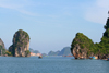 Halong Bay - Vietnam: two rock formations guard a canal - photo by Tran Thai
