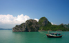 Halong Bay - Vietnam: fishing boat and rock formation covered in dense vegetation - photo by Tran Thai
